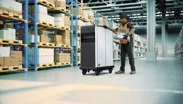 This photo provided by General Motors shows EP1 electric pallet. General Motors is forming a new business unit to tap the market for delivery vehicles and equipment powered by electricity. (General Motors via AP)