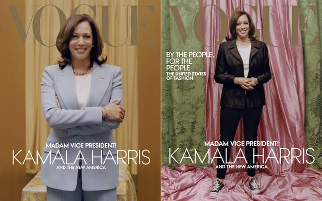 This combination of photos released by Vogue shows images of Vice President-elect Kamala Harris on the cover of their February digital and print issues. Vogue's February 2021 issue is available on newsstands nationwide on January 26. (Tyler Mitchell/Vogue via AP)