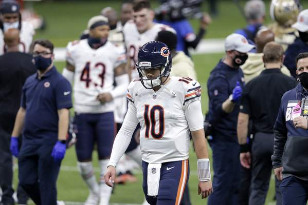 Associated Press Chicago quarterback Mitchell Trubisky walks off the field after falling to the Saints in a wild card playoff game Sunday in New Orleans.