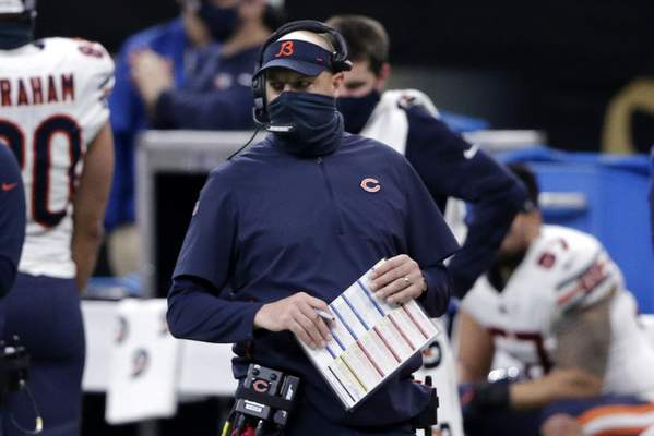 Nagy Chicago Bears head coach Matt Nagy walks on the sideline in the first half of an NFL wild-card playoff football game against the New Orleans Saints in New Orleans, Sunday, Jan. 10, 2021. (AP Photo/Butch Dill)
