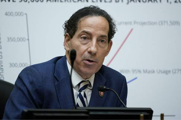 FILE - In this Oc. 2, 2020, file photo Rep. Jamie Raskin, D-Md., speaks as Secretary of Health and Human Services Alex Azar testifies to the House Select Subcommittee on the Coronavirus Crisis, on Capitol Hill in Washington. (AP Photo/J. Scott Applewhite, Pool, File)