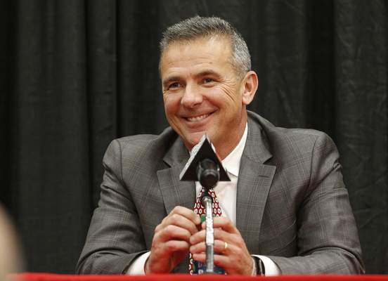 FILE - Ohio State NCAA college football head coach Urban Meyer answers questions during a news conference announcing his retirement in Columbus, Ohio, in this Tuesday, Dec. 4, 2018, file photo. A person familiar with the search says Urban Meyer and the Jacksonville Jaguars are working toward finalizing a deal to make him the team's next head coach. The person spoke to The Associated Press on the condition of anonymity Thursday, Jan. 14, 2021, because a formal agreement was not yet in place. (AP Photo/Jay LaPrete, File)