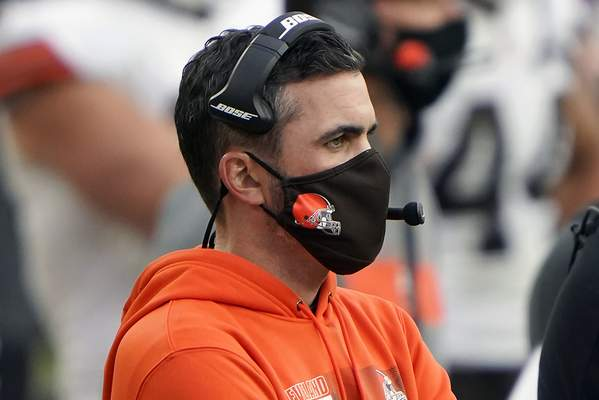 Cleveland Browns head coach Kevin Stefanski looks on from the sidelines during an NFL football game against the Pittsburgh Steelers, Sunday, Oct. 18, 2020, in Pittsburgh. Positive COVID-19 tests have knocked Stefanski out of Cleveland's wild-card game at Pittsburgh on Sunday night †the Browns' first playoff appearance since the 2002 season. (AP Photo/Justin Berl, File)