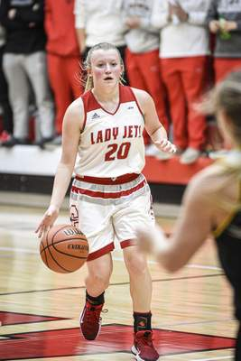 Mike Moore   The Journal Gazette Adams Central senior Mckenna Dietsch controls the ball in the second period against South Adams on Friday.