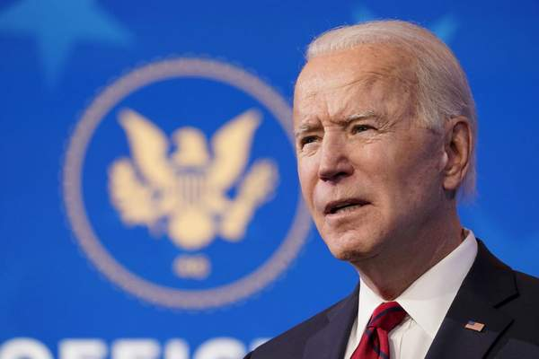 In this Jan. 15, 2021 file photo President-elect Joe Biden speaks during an event at The Queen theater in Wilmington, Del. (AP Photo/Matt Slocum, File)