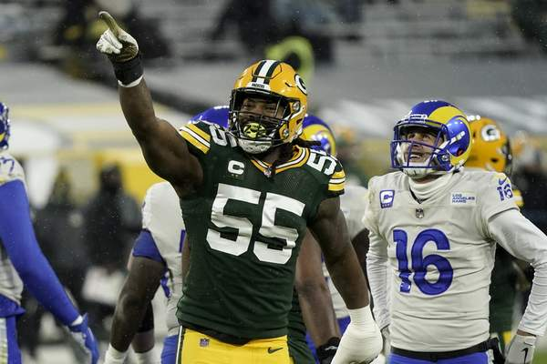 Green Bay Packers' Za'Darius Smith celebrates after sacking Los Angeles Rams quarterback Jared Goff (16) during the first half of an NFL divisional playoff football game, Saturday, Jan. 16, 2021, in Green Bay, Wis. (AP Photo/Morry Gash)