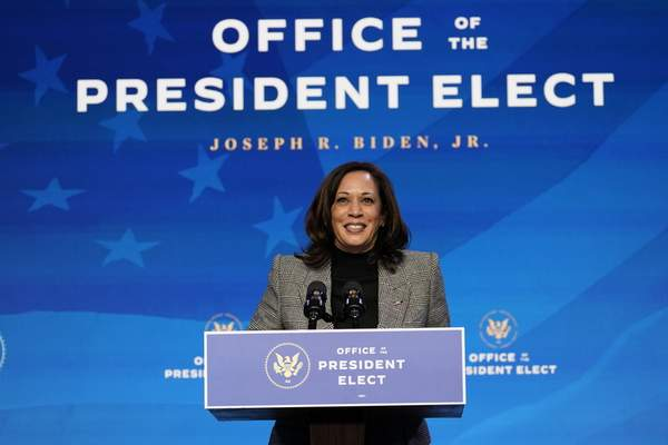 Harris  Vice President-elect Kamala Harris speaks during an event at The Queen theater, Saturday, Jan. 16, 2021, in Wilmington, Del. (AP Photo/Matt Slocum)