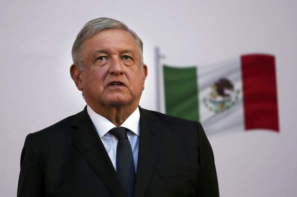 FILE - In this Dec. 1, 2020 file photo, Mexican President Andrés Manuel López Obrador attends the commemoration of his second anniversary in office at the National Palace in Mexico City. (AP Photo/Marco Ugarte, File)