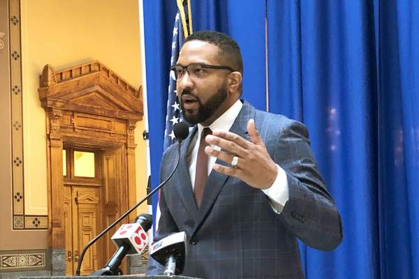 Indiana state Sen. Eddie Melton, D-Gary, speaks during a March 5, 2020, news conference at the Statehouse in Indianapolis. (AP Photo/Tom Davies)
