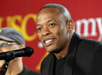 People-Dr Dre FILE - This May 15, 2013 file photo shows hip-hop mogul Dr. Dre as he announces a $70 million dollar donation to create the new