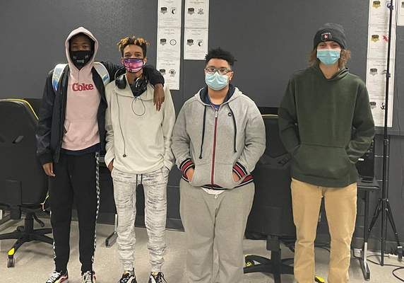 Courtesy Snider High School students, from left, Tyrese Ellis, Dalen Banks, Nazair Schohl and Tyler Armstrong competed in the High School Esports League tournament, falling to a New York school in the grand finals. Team member Kaiser Kent Cuevas isn't pictured.