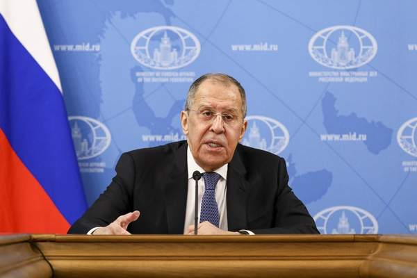 In this handout photo released by Russian Foreign Ministry Press Service, Russian Foreign Minister Sergey Lavrov speaks during his annual news conference in Moscow, Russia, Monday, Jan. 18, 2021. (Russian Foreign Ministry Press Service via AP)