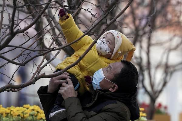 A man holds up a child, both wearing face masks to help curb the spread of the coronavirus, to reach out a tree branches at the Wangfujing shopping district in Beijing, Monday, Jan. 18, 2021. (AP Photo/Andy Wong)