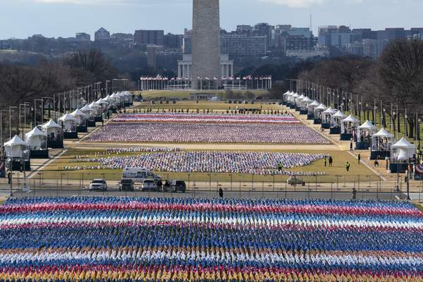 Associated Press Flags cover the National Mall in Washington, D.C., Monday ahead of this week's presidential inauguration.