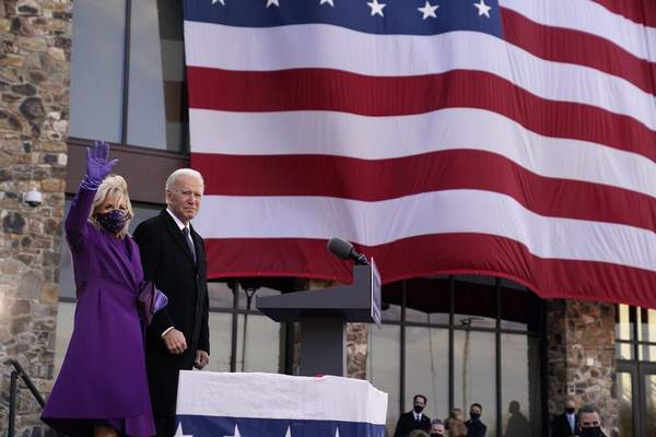President-elect Joe Biden stands with his wife Jill Biden after speaking at the Major Joseph R. Beau Biden III National Guard/Reserve Center, Tuesday, Jan. 19, 2021, in New Castle, Del. (AP Photo/Evan Vucci)