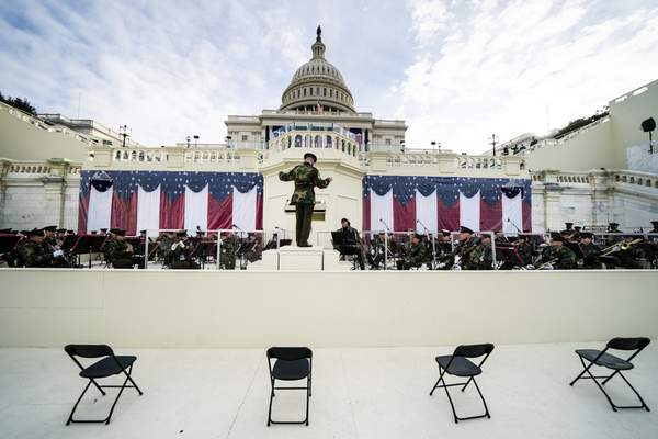 Members of the military band participate in a dress rehearsal for the 59th inaugural ceremony for President-elect Joe Biden and Vice President-elect Kamala Harris at the Capitol, Monday, Jan. 18, 2021, in Washington. (Erin Schaff/The New York Times via AP, Pool)