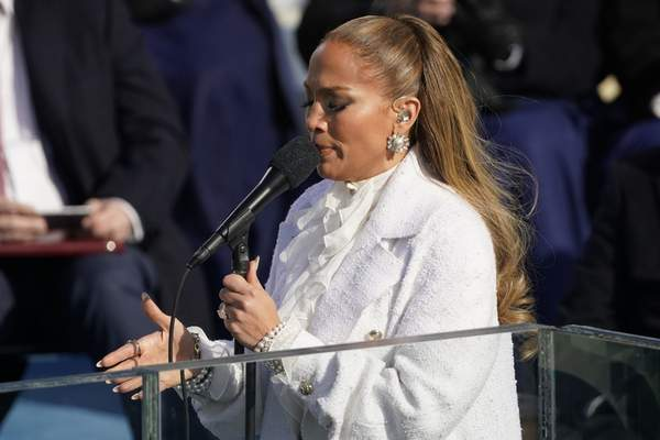 Jennifer Lopez performs during the 59th Presidential Inauguration at the U.S. Capitol in Washington, Wednesday, Jan. 20, 2021. (AP Photo/Andrew Harnik)