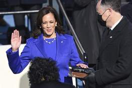 APTOPIX Biden Inauguration Kamala Harris is sworn in as vice president by Supreme Court Justice Sonia Sotomayor as her husband Doug Emhoff holds the Bible during the 59th Presidential Inauguration at the U.S. Capitol in Washington, Wednesday, Jan. 20, 2021.(Saul Loeb/Pool Photo via AP) (Saul Loeb POOL)