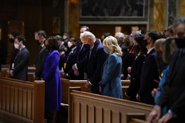 President-elect Joe Biden and his wife Jill Biden attend Mass at the Cathedral of St. Matthew the Apostle during Inauguration Day ceremonies Wednesday, Jan. 20, 2021, in Washington. (AP Photo/Evan Vucci)