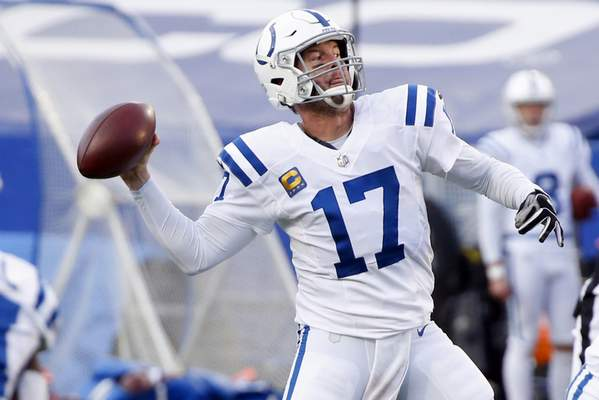 Associated Press photos Colts quarterback Philip Rivers throws a pass that resulted in a touchdown in the fourth quarter of the playoff game against the Bills on Jan. 9. It would turn out to be the veteran quarterback's final touchdown pass.