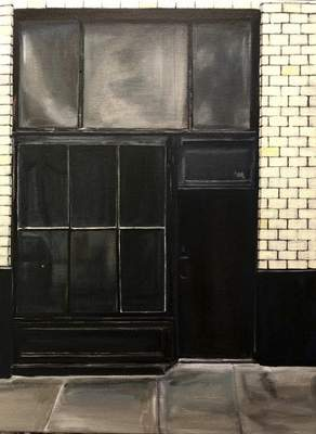 Courtesy This untitled painting of a building's window is among works Booth createdwhile captivated by Portland architecture last summer.