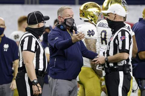 Rose Bowl Football Notre Dame head coach Brian Kelly, center, talks to officials in the first half of the Rose Bowl NCAA college football game against Alabama in Arlington, Texas, Friday, Jan. 1, 2021. (AP Photo/Michael Ainsworth) (Michael Ainsworth FRE)