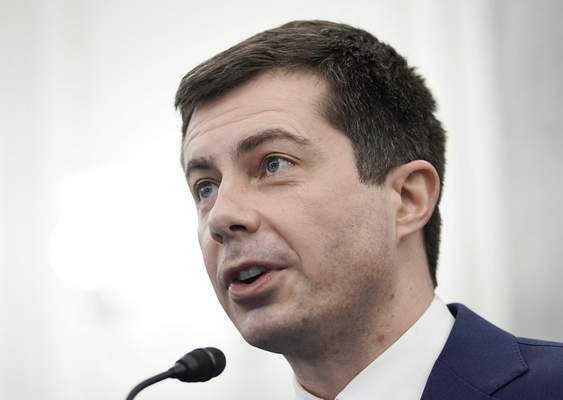 Transportation Secretary nominee Pete Buttigieg speaks during a Senate Commerce, Science and Transportation Committee confirmation hearing on Capitol Hill, Thursday, Jan. 21, 2021, in Washington. (Ken Cedeno/Pool via AP)