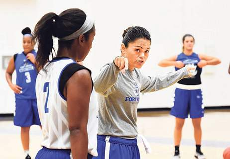 File Niecee Nelson talks to players at a practice in 2016, her first year at Purdue (then Indiana-Purdue) Fort Wayne.