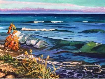 """Courtesy Susie Suraci's """"Lake Huron at St. Ignace"""" is part of the """"Bye, Bye 2020"""" exhibit at Castle Gallery Fine Art."""