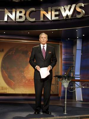 FILE - NBC Nightly News anchor Tom Brokaw delivers his final broadcast, in New York Wednesday Dec. 1, 2004. Brokaw says he is retiring from NBC News after working at the network for 55 years. The author of The Greatest Generation is now 80 years old and his television appearances have been limited in recent years as he fought cancer. He says he will continue writing books and articles. (AP Photo/Richard Drew, File)