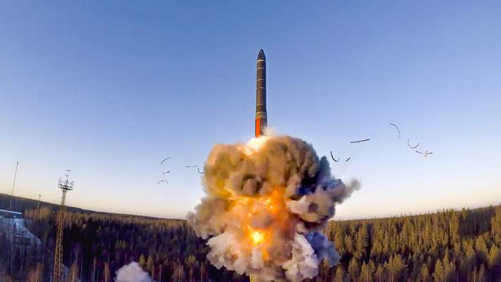 FILE - In this file photo taken from a video distributed by Russian Defense Ministry Press Service, on Wednesday, Dec. 9, 2020, a rocket launches from missile system as part of the drills, a ground-based intercontinental ballistic missile was launched from the Plesetsk facility in northwestern Russia. Russia's top diplomat says that Moscow is ready for a quick deal with the incoming administration of U.S. President-elect Joe Biden to extend the last remaining arms control pact, which expires in just over two weeks. (Russian Defense Ministry Press Service via AP, File)