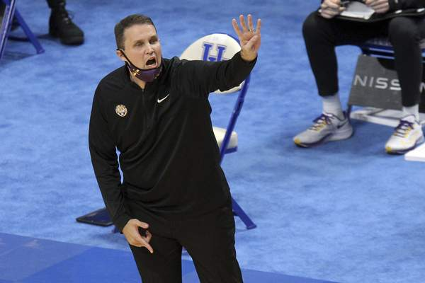 LSU head coach Frank Wade calls a play during the first half of an NCAA college basketball game against Kentucky in Lexington, Ky., Saturday, Jan. 23, 2021. (AP Photo/James Crisp)