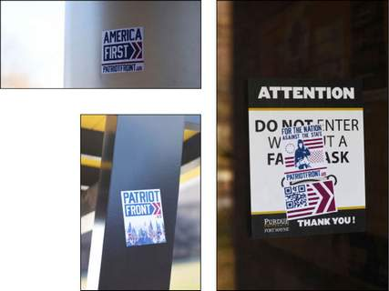 Photos by Katie Fyfe | The Journal Gazette Stickers promoting the website patriotfront.us were illegally posted throughout the PFW campus on Saturday.