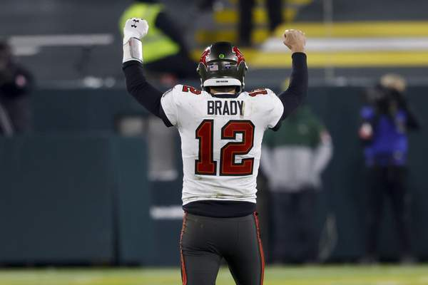 Associated Press Tampa Bay Buccaneers quarterback Tom Brady reacts after winning the NFC championship game Sunday against the Green Bay Packers in Green Bay, Wis.
