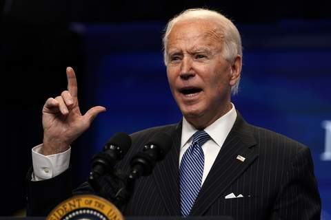 Biden President Joe Biden speaks during an event on American manufacturing, in the South Court Auditorium on the White House complex, Monday, Jan. 25, 2021, in Washington. (AP Photo/Evan Vucci) (Evan Vucci STF)