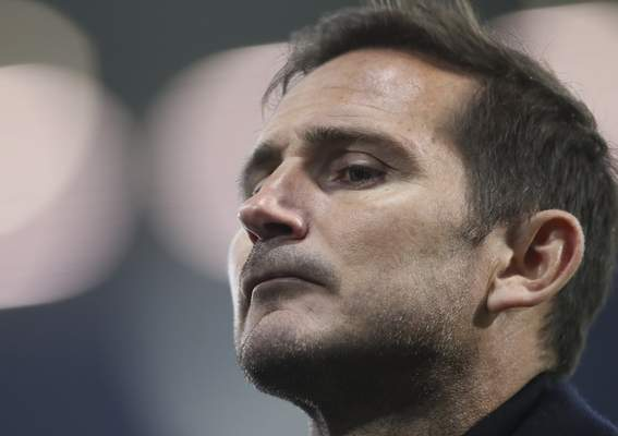 FILE - In this Sunday, Sept. 26, 2020 file photo, Chelsea's head coach Frank Lampard looks on after the English Premier League soccer match between West Bromwich Albion and Chelsea at the Hawthorns in West Bromwich, England. (Nick Potts/Pool via AP, File)