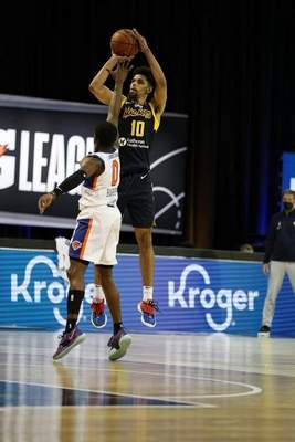 Courtesy Mad Ants/NBAE  Brian Bowen II takes a long-range shot for the Mad Ants on Wednesday in Orlando, Florida.