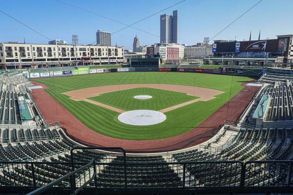 Mike Moore   The Journal Gazette Empty seats overlooking downtown Fort Wayne at Parkview Field on Wednesday 04.08.20