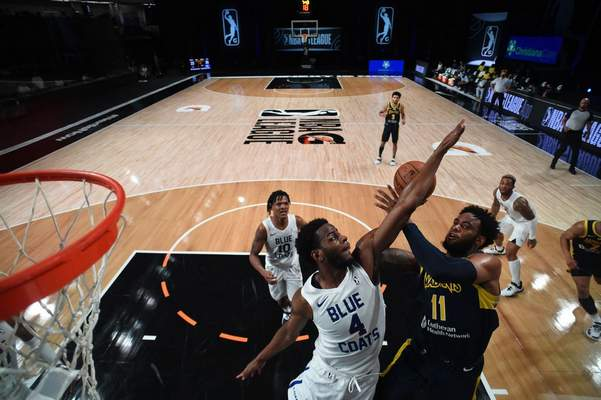 Courtesy Mad Ants/NBAE  The Mad Ants' Oshae Brissett goes up for a shot against Delaware on Thursday in Orlando, Florida.