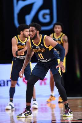 Courtesy Mad Ants/NBAE  Oshae Brissett prepares to defend for the Mad Ants on Thursday at Orlando, Florida.