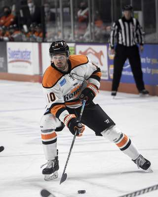 Mike Moore | The Journal Gazette Komets defenseman Nick Boka eyes the net on Friday in the first period against the Wheeling Nailers at Memorial Coliseum.