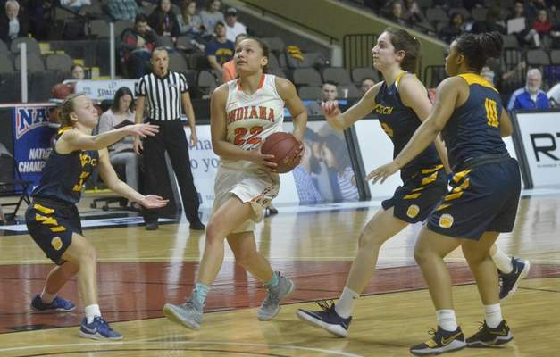 Justin Rust | For the Journal Gazette  Alexis Hill (22) and Indiana Tech women's basketball have gone 22-2 this season despite significant changes to their schedule and daily routines because of the coronavirus pandemic.