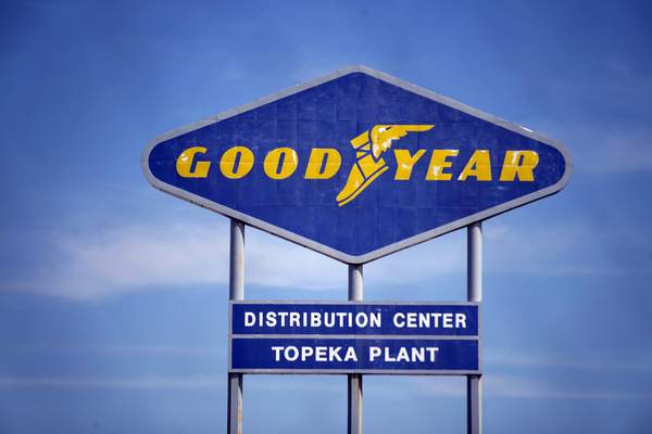 FILE - In this Aug. 20, 2020 file photo, signage for the Goodyear Distribution Center stands in Topeka, Kan. (Evert Nelson/The Topeka Capital-Journal via AP, File)