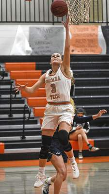 Mike Moore | The Journal Gazette Indiana Tech guard Emma Tuominen scores a layup on Thursday in the fourth quarter against Cornerstone at the Schaefer Center.