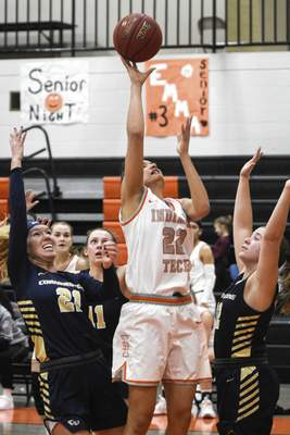 Mike Moore | The Journal Gazette Indiana Tech guard Alexis Hill shoots the ball in the fourth quarter against Cornerstone at the Schaefer Center on Thursday.