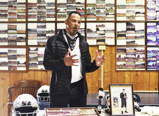 Katie Fyfe | The Journal Gazette Rod Woodson talks Thursday at the Police Athletic League about the football camp he will be holding in town in July.