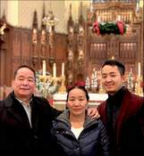 Courtesy photo Catholic Charities has helped ease the transition from Southeast Asia to northeast Indiana for numerous refugee families. Seen here is one: Burmese natives Hau Lian Mang, left, Yung Nian No and Thang Sian Suan, known as Jerome.