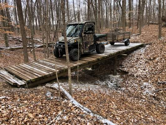 Courtesy Diana Furrow brushed up on her construction skills by building a bridge on her Fort Wayne property during the pandemic.