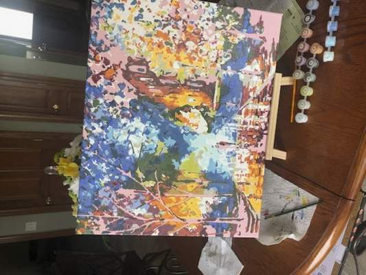 Courtesy Rebecca Karcher learned to paint by numbers and so far has painted five pieces.