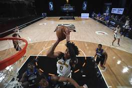 Courtesy Mad Ants/NBAE  The Mad Ants' Jalen Lecque goes up for a shot Sunday against the Lakeland Magic in Orlando, Florida. (Juan Ocampo Contributor)